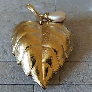 Avon Sachet Brooch Locket Leaf Shaped with Pearl